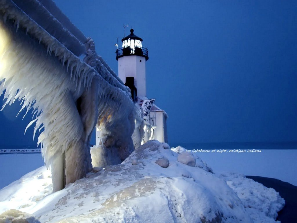 Icy Light House at Night, MIchigan Indiana