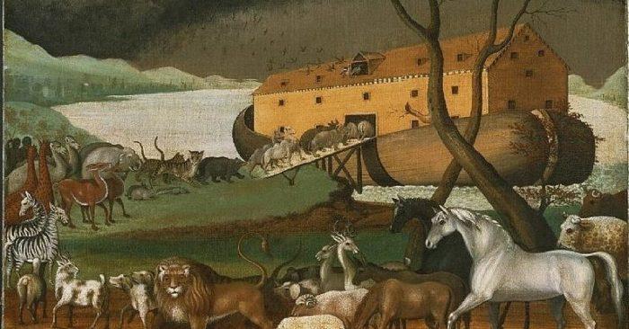 Pintura del estadounidense Edward Hicks (1780-1849), que muestra a los animales embarcando de dos en dos. (Wikimedia Commons)