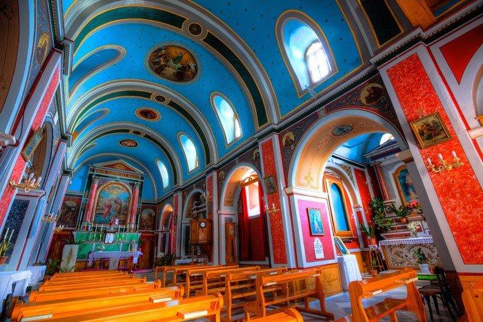 Greek Orthodox Church Interior - Syros, Greece